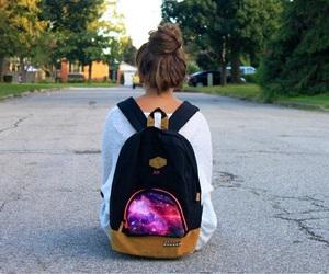girl, galaxy, and bun image