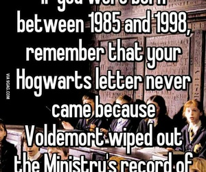 hogwarts, harry potter, and voldemort image