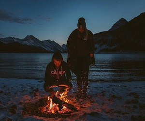 night, fire, and mountains image