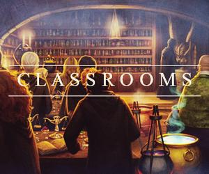 hogwarts, harry potter, and classroom image