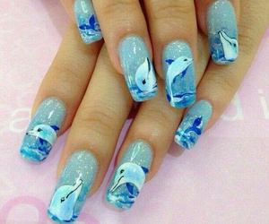 nails, dolphins, and blue image