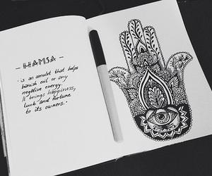 drawing, quote, and hamsa image