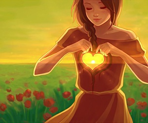 girl, heart, and sun image