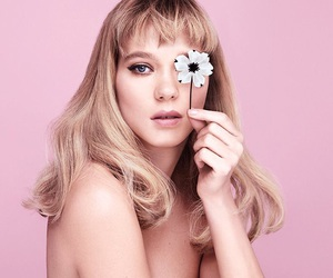 pink, Lea Seydoux, and flowers image