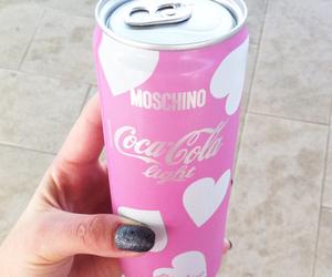pink, coca cola, and Moschino image