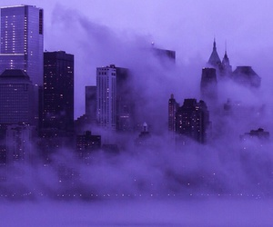 city, purple, and fog image