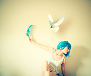 bird, feather, and blue hair image
