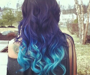 Bleu, cheveux, and brune image