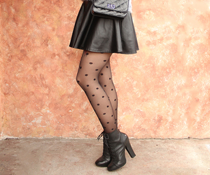 heels, polka dots, and stockings image