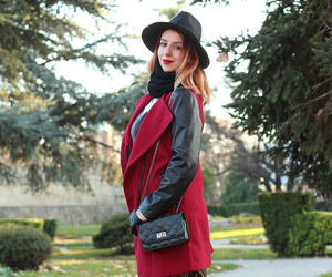 coat, ombre, and hat image