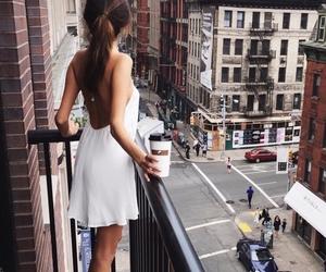 girl, city, and coffee image