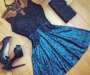dress, blue, and outfit image