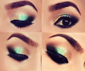 makeup, eyes, and gold image