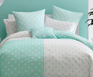 bed, bedroom, and mint green image