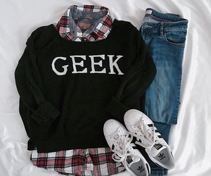 outfit, geek, and jeans image