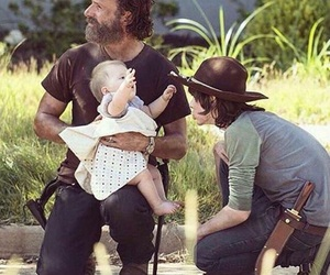 the walking dead, rick grimes, and carl grimes image