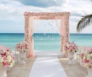 wedding, beach, and flowers image
