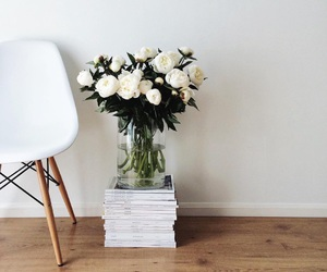 flowers, interior, and chair image