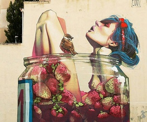 strawberry, girl, and art image