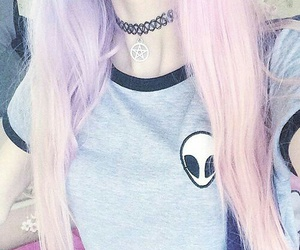 hair, pink, and alien image