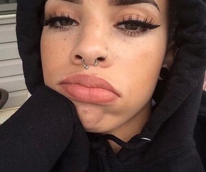 girl, makeup, and piercing image