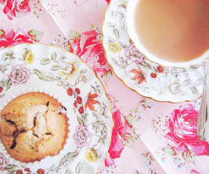 pink, tea, and floral image