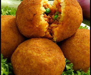 arancini, meat, and olives image