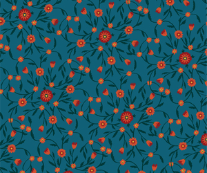 floral, navy, and pattern image
