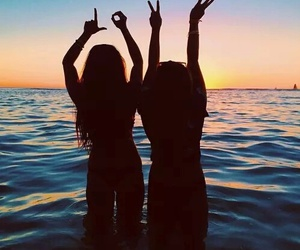 love, friends, and beach image