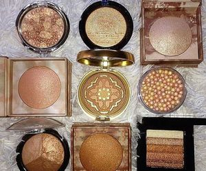 makeup, gold, and beauty image