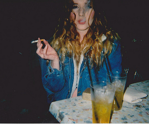 girl, smoke, and drink image