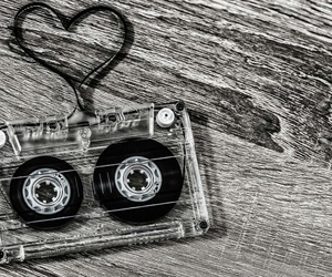 heart, black and white, and cassette image