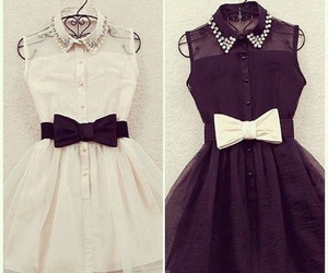 black dress, bow, and girly image