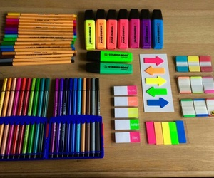 school, colors, and pen image