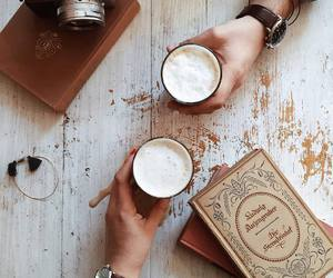books, vintage, and coffee image