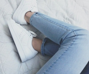 jeans, shoes, and white image