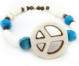 beaded bracelet, peace bracelet, and surfer style image