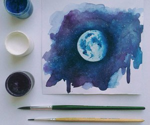art, moon, and blue image
