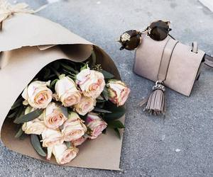 flowers, bag, and roses image