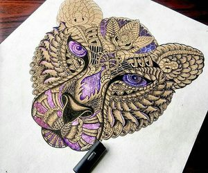 drawing, art, and lion image