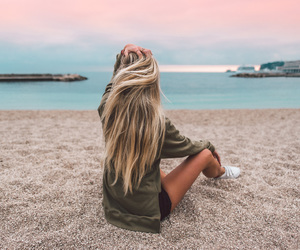beach, beauty, and girl image