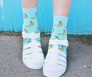 banana, blue, and shoes image