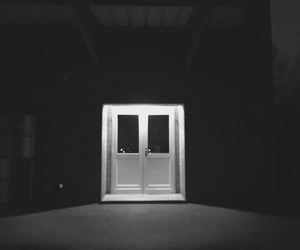black and white, door, and horror image
