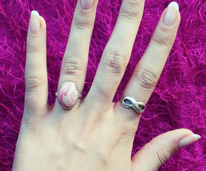 aesthetic, nails, and rhodochrosite image