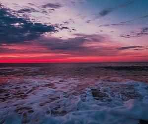 beach, sunset, and sky image