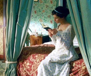girl, bed, and book image