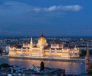 architecture, blue hour, and budapest image