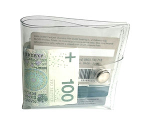 business card holder, vinyl wallet, and clear classic wallet image