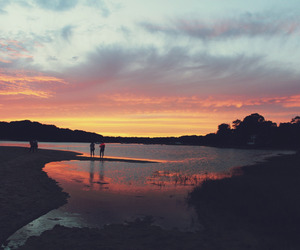 nature, sunset, and water image
