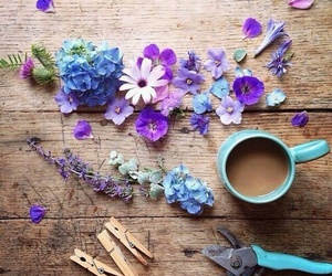 flowers, blue, and coffee image